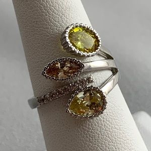Jewelry - NWOT Eye-catching Sterling & CZ Bypass Ring